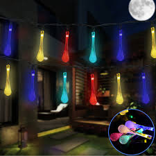 solar powered 30 water drop covers led string light for christmas