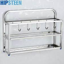 popular hanging spice racks buy cheap lots hipsteen three layer stainless steel kitchen hanging spice rack knife shelf storage holder organizer
