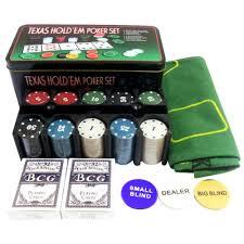 Big Blind Small Blind Poker Set 200 Chips Texas Hold Casino Complete Metal Set