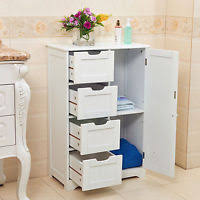 White Wood Free Standing Bathroom Storage Cabinet Unit by Bathroom Cabinet White Slatted Door Cupboard Laundry Storage Wood