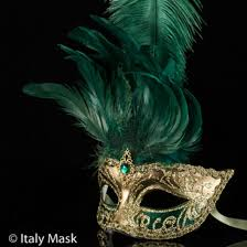 feather mask venetian masquerade feather mask gold green