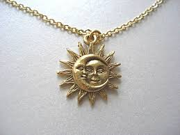 necklace moon gold images Gold sun and moon pewter charm celestial necklace love jpg