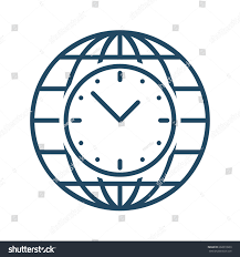 clock inside globe vector icon meaning stock vector 602810909