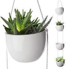 amazon com 4 piece modern ceramic hanging planters for indoor