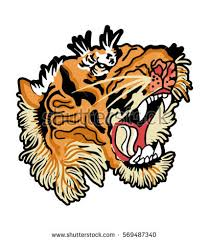japanese tiger flowers patch embroidery 2 stock vector 569487340