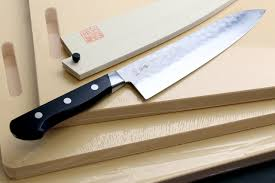 professional kitchen knives yoshihiro blue steel santoku chef knife 180mm black pakkawood