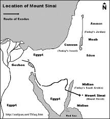 middle east map moses time where is mount sinai where is mount horeb of the exodus