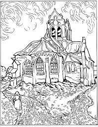 free coloring page coloring difficult van gogh auvers church the