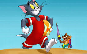 the tom and jerry tom and jerry on the beach in a summer day