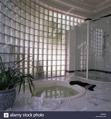 Bath And Shower Unit Curved Glass Brick Wall In Modern Bathroom With Sunken Jacuzzi