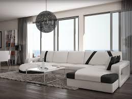 canape panoramique design canapé d angle droit en simili noir blanc mintika
