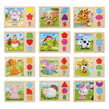 wooden animals jigsaw puzzle multicolor cartoon tangram chinese