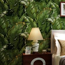2016 southeast asian style green banana leaf wallpaper rolls for