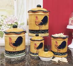 Kitchen Storage Canisters Sets Amazon Com Tuscany Sunshine Country Rooster Hand Painted