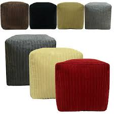 Soft Ottoman Chunky Cord Pouffe Footstool Cube Soft Foot Rest Stool Ottoman