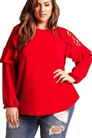 plus size blouse ruffle trim lace cold shoulder plus size blouse mb250732 3