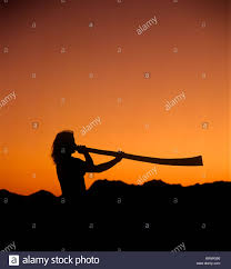 man playing a didgeridoo at sunset with tucson mountains in stock