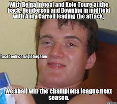 Kolo Toure Memes - 10 guy with reina in goal and kolo toure at the back henderson