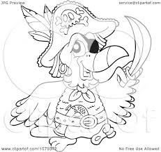 clipart outlined pirate parrot royalty free vector illustration