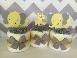 yellow and gray baby shower decorations set of 3 elephant mini cakes in yellow and gray elephant