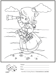 kids coloring page precious moments explorer telescope