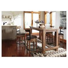 Light Wood Dining Room Sets Pinnadel Rectangular Dining Room Counter Table Wood Light Brown
