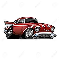 American Muscle Cars - classic american muscle car red cartoon illustration isolated