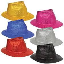 bulk glittery fedora shaped plastic hats at dollartree