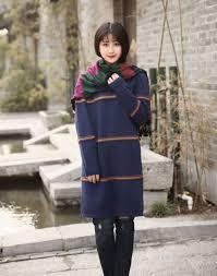 cotton sweater woolen sweater dress large size long sweater