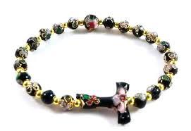 bracelet rosary black cloisonne bead tau cross rosary bracelet