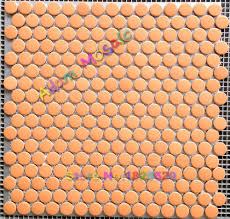 penny round tiles orange mosaic tile ceramic glazed porcelain