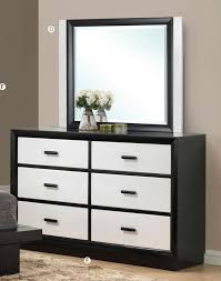 black dressers for bedroom debora black white contemporary 6 drawer dresser with mirror acme