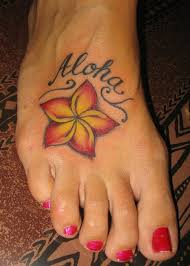 hawaiian flower tattoos for girls design on foot and back body