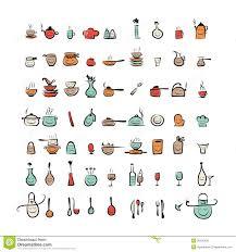les ustensiles de cuisine caractères d ustensiles de cuisine icônes de dessin de croquis