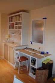 comfortable desk with chair for home office wall shelves in white