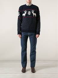gant reindeer sweater in blue for men lyst