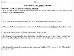 joyeux noel movie worksheet with answer sheet by teddlem