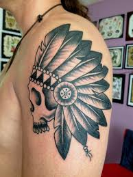 black grey ink indian skull on shoulder tattoos book