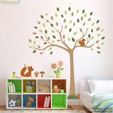 nursery tree wall stickers uk home design ideas woodland tree wall sticker with fox and squirrel woodland wall stickers stickerscape uk