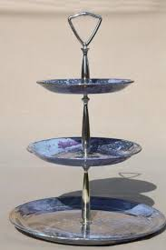 tiered serving stand painted marbled iridescent skytone blue china three tier cake