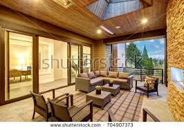 beautiful covered patio barbecue fan sink stock photo 389852080