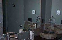 numerous bowl wall lights over great brown wooden vanity modern