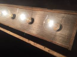 8 bulb rustic country barn wood bathroom vanity light bar