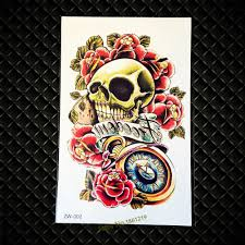 1pc popular guns n roses logo temporary tattoo stickers skull