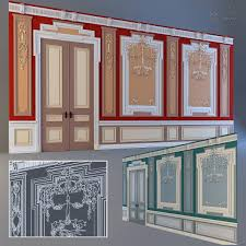 Stucco Decorative Moldings The Wall With The Elements Of The Stucco Decoration And The Door