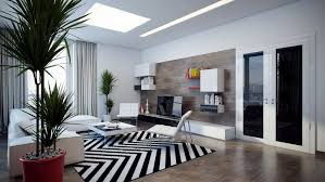 home interior balck and white living room design with black