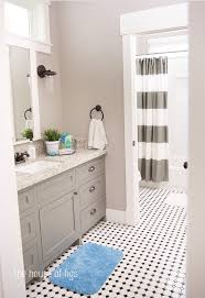267 best bathrooms images on pinterest bathroom ideas bathrooms of figs the montgomery house cabinet is bm chelsea gray and walls are olympic silver dollar great color cabinets and floor for one of boys bathrooms
