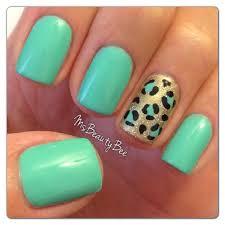 green nail polish designs mint green u0026 leopard animal print