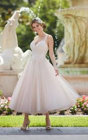 tea length wedding gowns tea length wedding dress with tulle skirt stella york