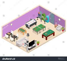 interior game room isometric view furniture stock vector 663061711